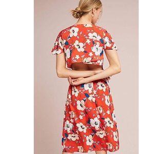 Anthropologie London Rose Med Floral Midi Dress